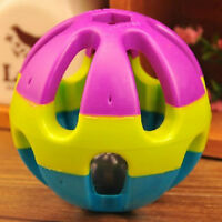 New 7cm Pet Dog Puppy Cat Rainbow Color Rubber Bell Ball Toy Sound Round Ball#