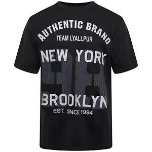 Mens Round Crew Neck Black Newyork 98 Brooklyn Front Printed T Shirt 100% Cotton