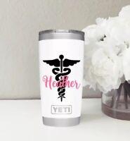 Caduceus Name Vinyl Decal Sticker | Personalized Nurse for yeti hydroflask car