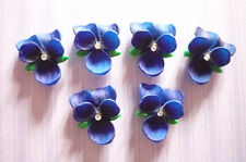 Blue Violets with Chaton Rhinestone Flowers 14mm X 12mm Cabochons - Qty 2