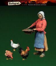 1:35 1/35 in resina seconda guerra mondiale russa per i rifugiati donna con galline FIGURE MODEL KIT
