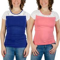 Women Pregnancy Nursing Short Sleeve Tops T Shirt Maternity Lace Splice Blouse E