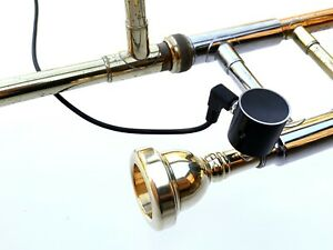 PiezoBarrel 'Wood' Pickup, 4m Cable & brass adapters to solder onto Trombone MPC