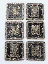 6 Vtg Bolivian Copper Relief Coasters Inca Gods Viracocha Eagle Warrior -signed