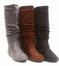 NEW Women Round Toe  Flat Slouch Mid Calf Knee High Boot Shoes Size 5 - 10