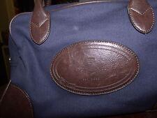 "Tommy Hilfiger Navy Blue Canvas/ Brown Leather trim,  10-11"" satchel purse"