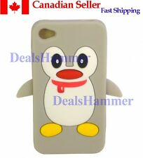 3D Cute Penguin Silicone Rubber Skin Case Cover for Apple iPhone 4 4S 4G Gray CA