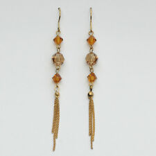 14k Gold plated Austrian crystals dangle antique style earrings