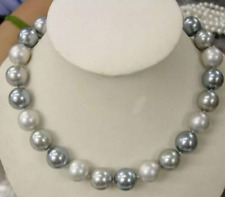 NEW 8mm Genuine White Silver Gray South Sea Shell Pearl Necklace 18''AAA++