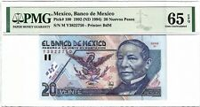 P-100 1992 20 Nuevos Pesos, Mexico, Banco de Mexico, PMG 65EPQ GEM