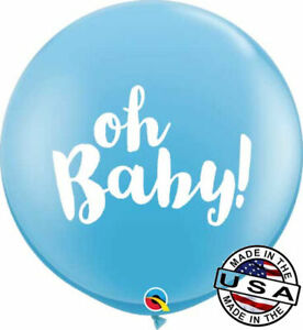 """3 ft HUGE 36"""" Oh Baby Boy Qualatex Latex Balloon Decoration Welcome Shower Blue"""