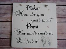 Handmade Wall Plaque Inspirational Disney Quote Gift Winnie the Pooh/Piglet