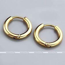 10mm Golden Stainless Steel Tube Ear Helix Hoop Huggie Sleeper Stud Earrings