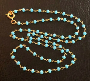 """Turquoise Bead Necklace Wire Wrapped Rosary Bead Gold Pltd Chain Handmd 22"""" #893"""