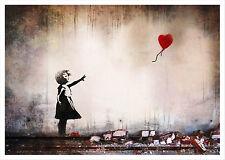 Poster Banksy Cuore Graffiti Heart Ballon Stampa Fine Art Quadro su Pannello MDF