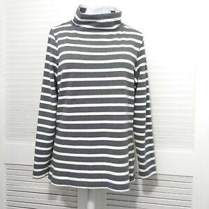 Lands' End Charcoal Grey and White Stripe Perfect Turtle Neck Tunic Tee Medium