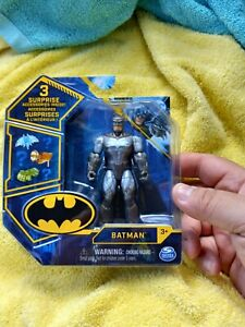 "Spin Master DC 4"" Figure Silver Rare Batman White Emblem New In Box"