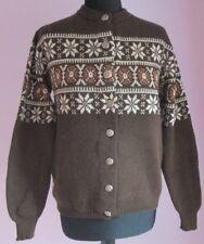 VTG Ladies JERSILD Brown Multi Virgin Wool Nordic Cardigan Size Large (30)