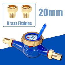 "3/4""20mm Garden Home Brass Flow Measure Tape Water Meter Copper Cold Dry Counter"