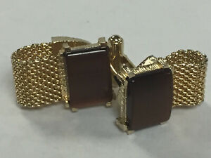 Swank Vintage Cuff links  Yellow Gold Filled Brown Agate