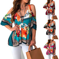 Women's Summer Cold Shoulder T Shirt Short Sleeve Floral Tunic Blouse Casual Top