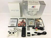PS2 PlayStation 2 Racing Pack Ceramic White SCPH-55000GT W/BOX Rare FedEx [Y]