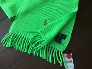 POLO Ralph Lauren Unique Neon Lime Green Merino Wool Knit Casual Winter Scarf