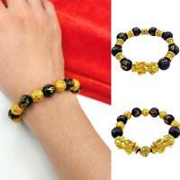 Jewelry Feng Shui Black Obsidian Pi Xiu Wealth Bracelet Attract Wealth&Good Luck