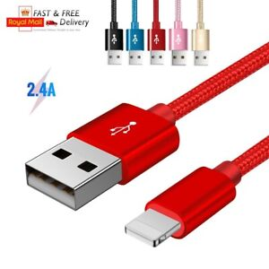 2.4A Long Braided USB Quick Charger Data Charging Cable For iPhone 6s 7 8 6 5s X