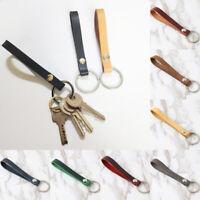 Retro Leather Key Chain Ring Keychain Holder Wrist Hand Strap Gift Crafts