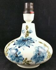 Vintage c1970's Jersey 14cm Tall Pottery Lamp Base Hand Painted Blue Flowers