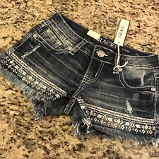 NWT Grace in LA Jean Denim shorts Size 25 Embroidered Front & Back Orig $49