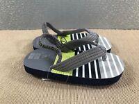 BNWT Little Boys Sz 6 Super Cute Grey with Green stripes Sling Back Beach Thongs