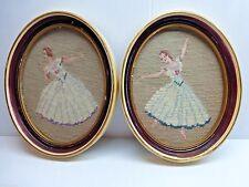 VTG Completed Needlepoint Ballerina Dancers Framed Glass Finished 2 Pcs Ballet
