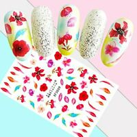 Nail Art Water Decals Stickers Transfers Spring Summer Pink Flowers Rose XF3009