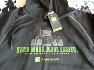 NWT, Authentic JOHN DEERE, HARD WORK MADE EASIER LARGE BLACK HOODIE SWEATSHIRT