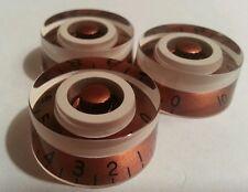 3 Guitar speed volume / tone knobs.. Copper/Cream.. JAT CUSTOM GUITAR PARTS