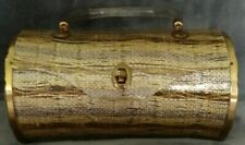 Vintage 1950's Majestic Lucite with Silver Gold Sparkle Thread Barrel Purse