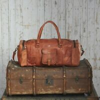 New Men's Adult Genuine Leather Vintage Duffel Overnight Travel Luggage Gym Bag