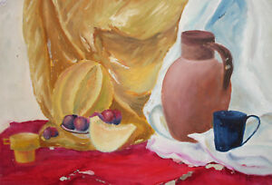 Impressionist gouache painting still life with fruits, jug and cups signed