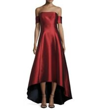 Sachin & Babi Noir Blue Red Women's Off Shoulder Hi-Low Gown Size 2 $795