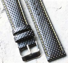 LAST ONE Black perforated leather rally band 20mm w/ yellow accents & stitching