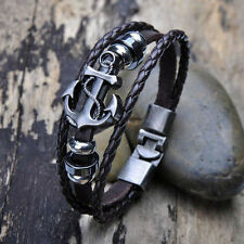 New Vintage Men's Metal Anchor Steel Studded Surfer Leather Bangle Cuff Bracelet