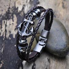 New Vintage Men's Metal Anchor Steel Studded Surfer Leather Bangle Cuff Bracelet