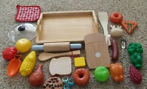 Lot 26 Pieces Play Food Utensils Tray