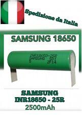 Batteria Ricaricabile SAMSUNG Liti INR18650r 3.7V 2500mAh linguette a saldare la
