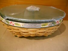 Nwt Longaberger 2011 Holly Berry Basket + Green WoodCrafts Lid with Holly Knob
