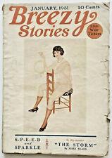 Vintage Jan. 1931 Breezy Stories Spicy Pulp Magazine Art Deco F. Manning Flapper