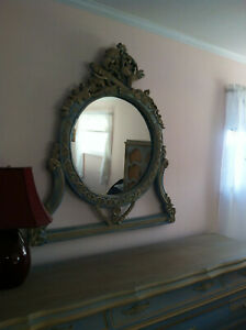 oval wall mirror, antique blue, excellent condition, 44 x 45