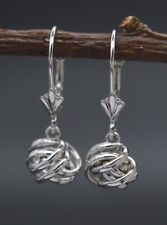 14K Solid White Gold Dangle Love knot Leverback Earrings (JM35)